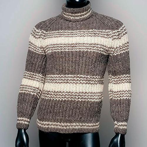 Мужской шерстяной свитер с высоким горлом, в полоску