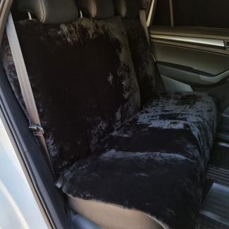 Накидки из овчины черные на заднюю сидушку и спинку автомобиля