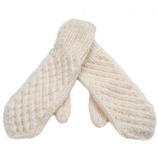 Шерстяные варежки женские вязаные белые